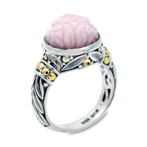 "Carved Pink Opal Ring Set in Sterling Silver & 18K Gold Accents ""Christina"""