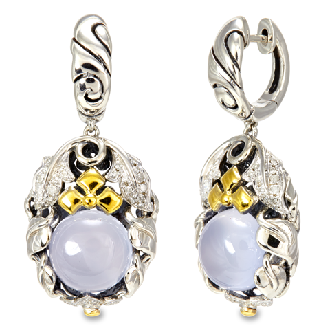 Diamond Accented Chalcedony Sterling Silver Earrings with 18K Gold Accents