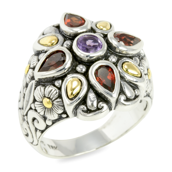 Amethyst and Garnet Sterling Silver Ring with 18K Gold Accents