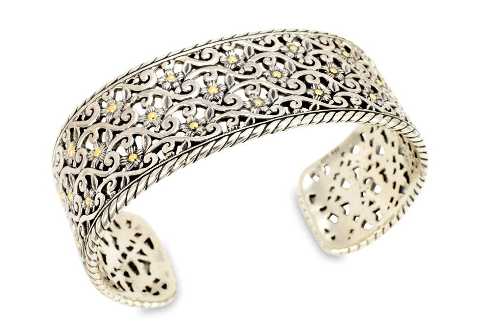 Floral Sterling Silver Cuff Bangle with 18K Gold Accents
