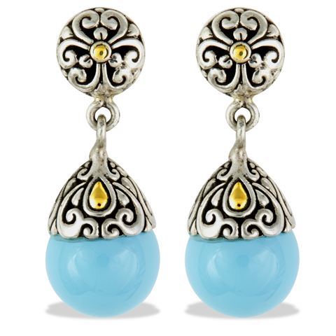 Turquoise Sterling Silver Earrings with 18K Gold Accents