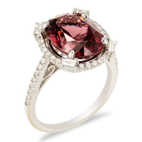 "14K White Gold Diamond and Rhodolite Garnet Ring ""Veridiana"""