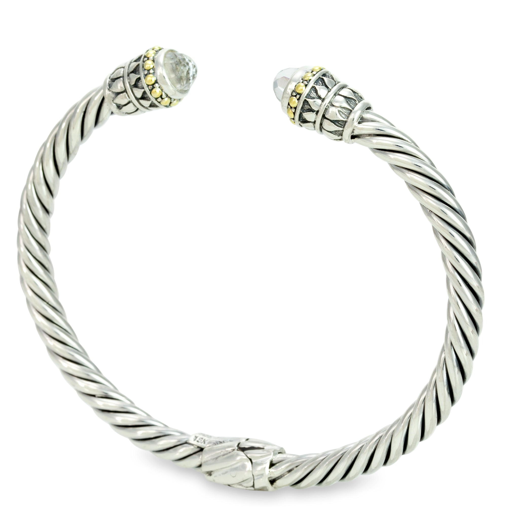 White Topaz Sterling Silver Twisted Cable Bangle with 18K Gold Accents