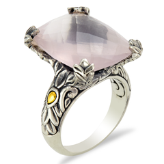 Rose Quartz Sterling Silver Pronged Ring with 18K Gold Accents