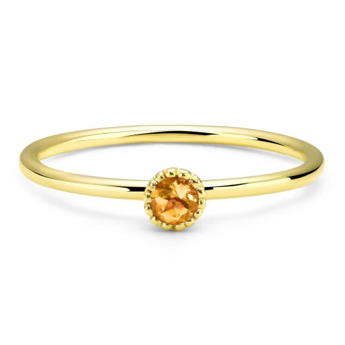 Stackable Silver Citrine Ring