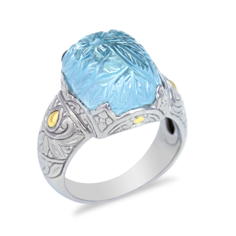 "Carved Blue Topaz Sterling Silver Ring with 18K Gold Accents ""Milly"""