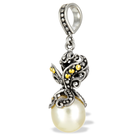 Yellow Pearl Sterling Silver Pendant with 18K Gold Accents