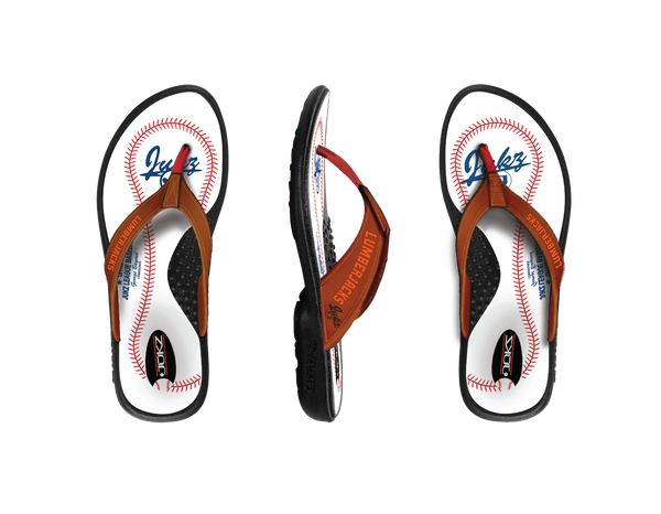 WARREN LUMBERJACKS LADIES BASEBALL FLIP FLOPS