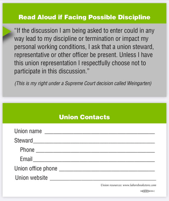 Union Steward Business Cards with Weingarten Rights - 100 count - Double sided