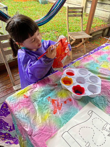 making the parrot for pirate story kins activities