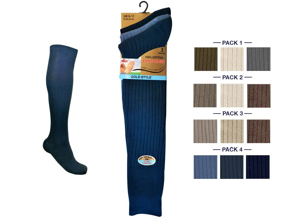 Mens LongHose 100% Cotton Rib Socks 3pp