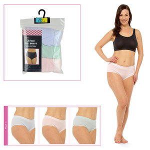Ladies Full Briefs in Polybag Pastels (3 Pack)