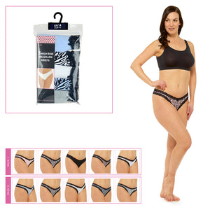 Ladies High Leg Brazilian Briefs (5 Pack)