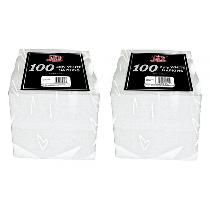 Buy wholesale 100pc 33cm x 33cm 2ply white napkins Supplier UK