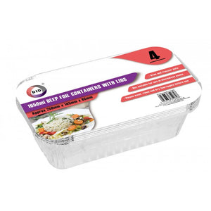 Buy wholesale 4pc 1650ml deep foil containers with lids (approx 250mm x 145mm x 65mm) Supplier UK