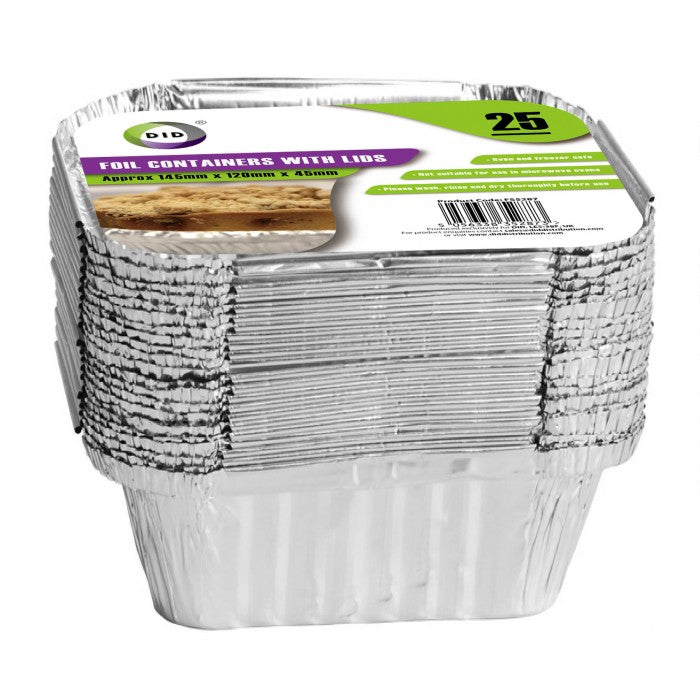 Buy wholesale 25pc foil containers with lids (approx 145mm x 120mm x 45mm) Supplier UK