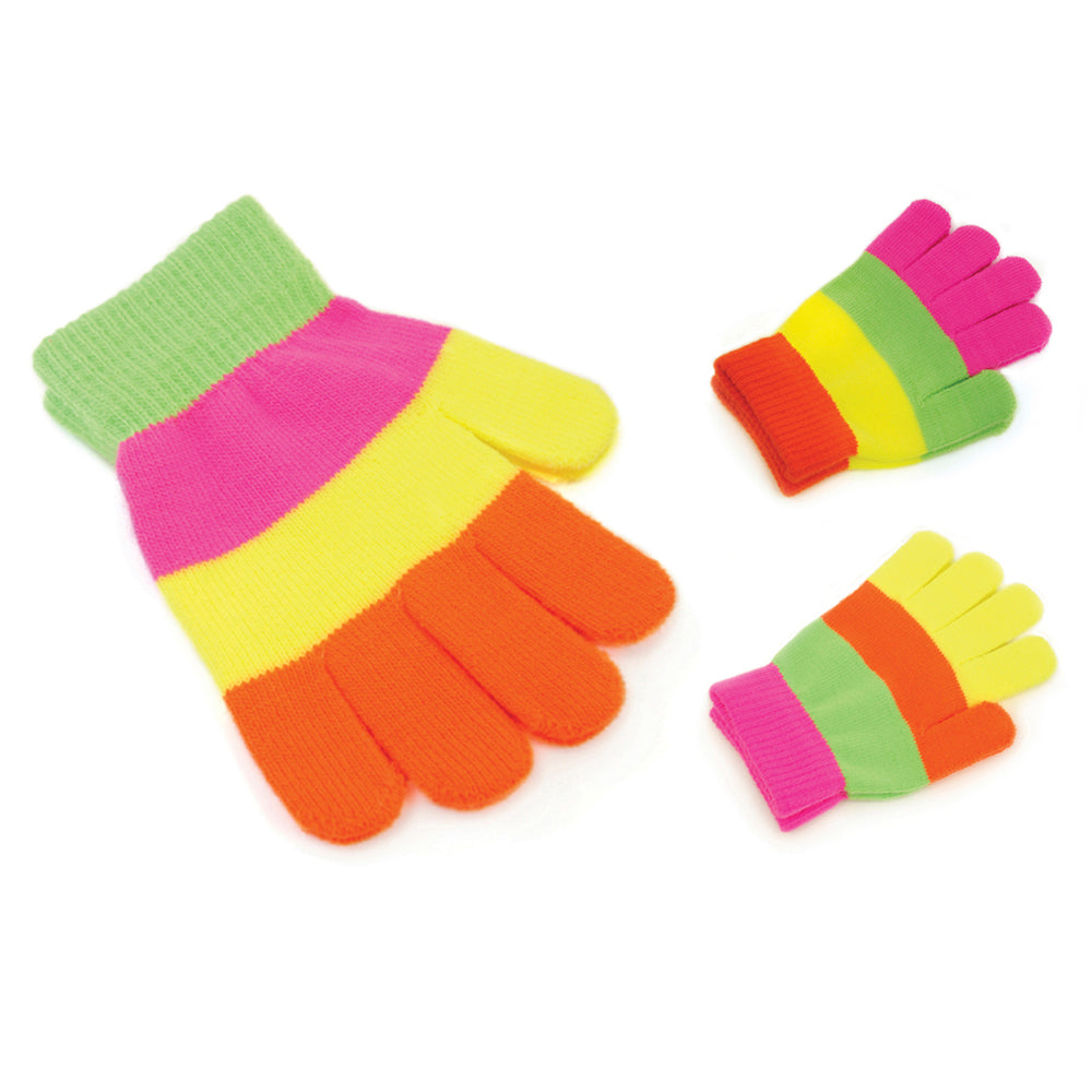 Kids Thermal Striped Neon Magic Gloves