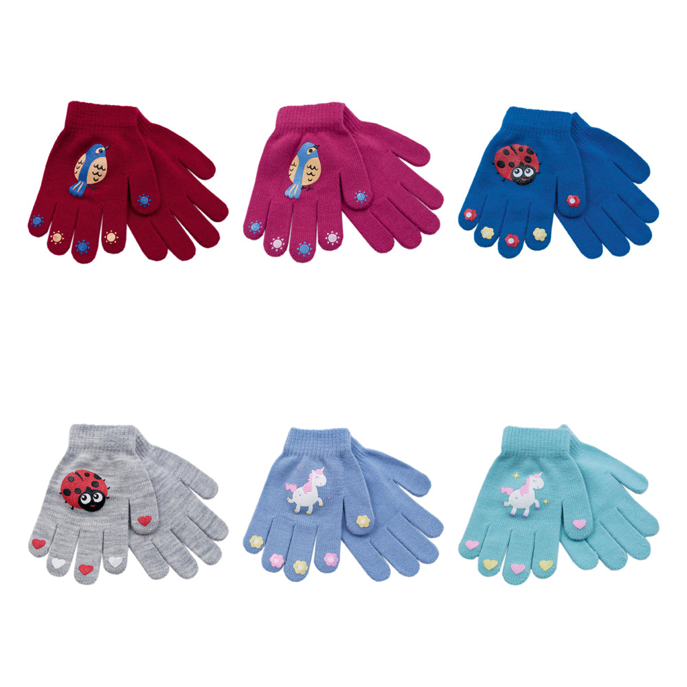 Girls Thermal Magic Gloves with Rubber Print 1pp