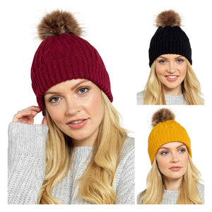 Ladies Chunky Hat with Fur Bobble