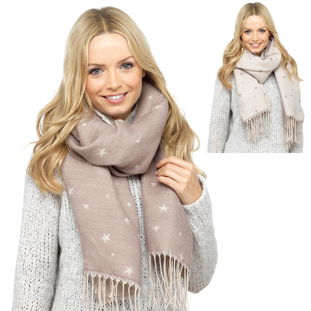 Ladies Revserible Scarf with Star Print
