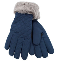 Ladies Quilted Glove with Fur Trim
