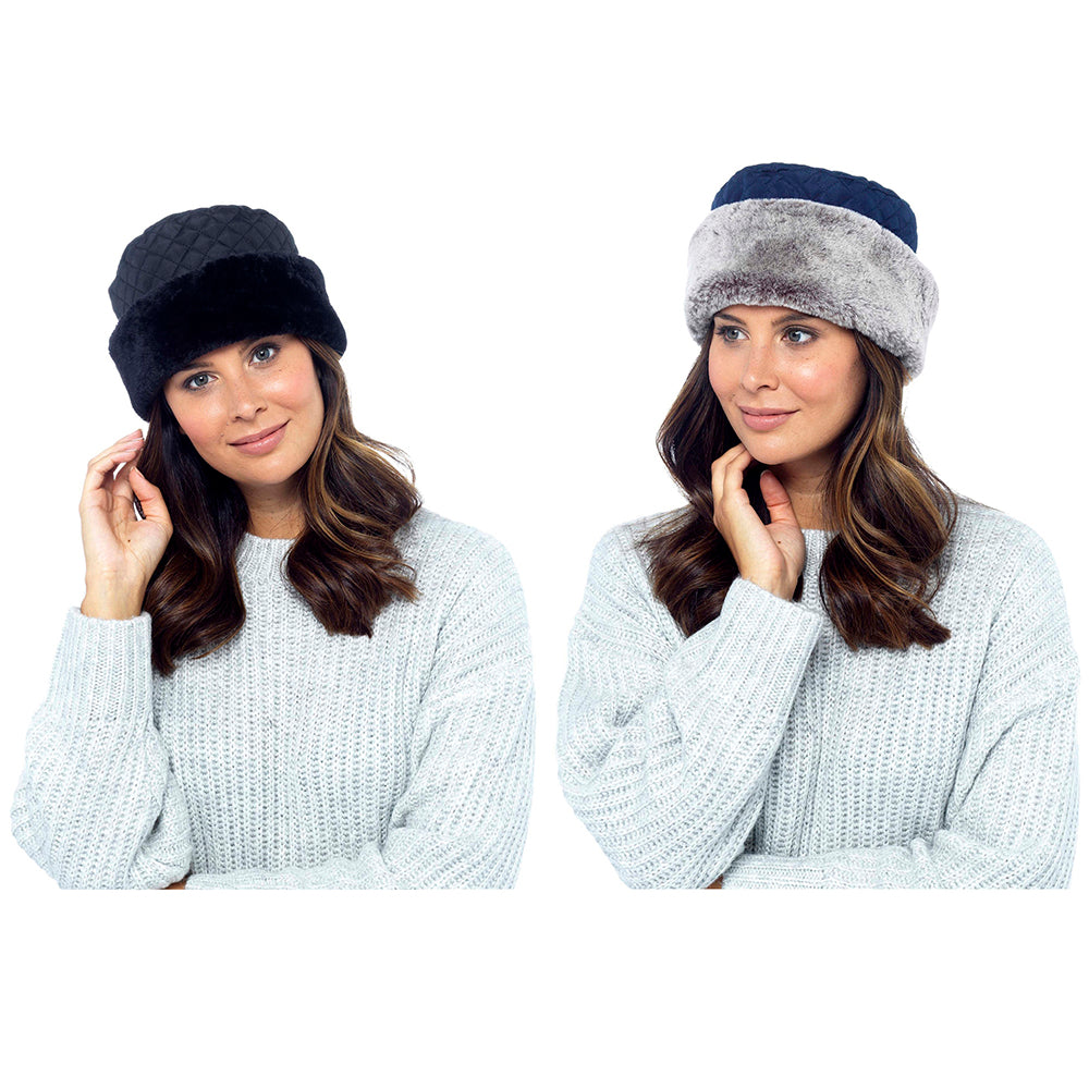 Ladies Quilted Hat with Fur Trim