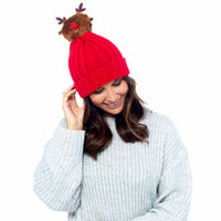 Ladies Rudolph Pom Pom Hat