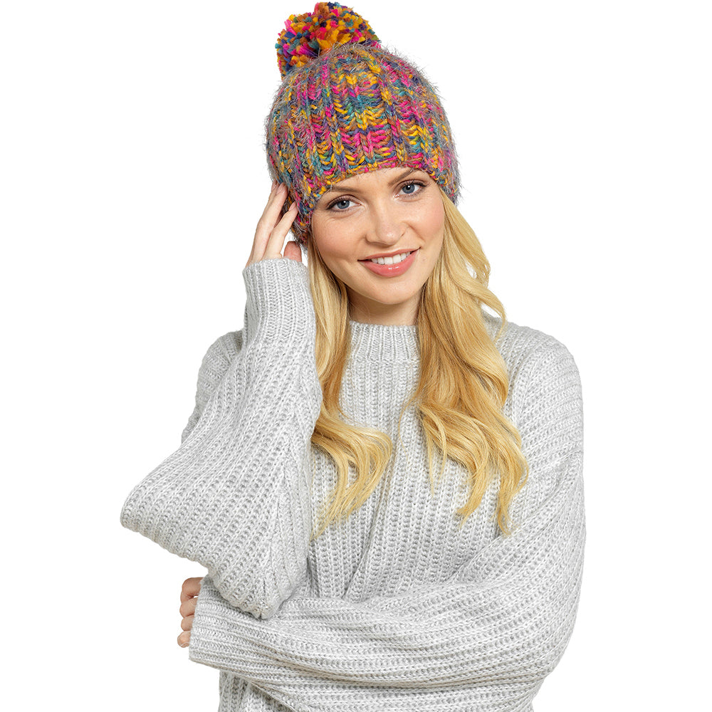 Ladies Multi-Coloured Pom Pom Hat