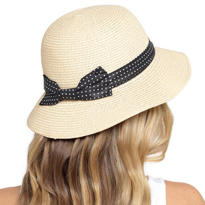 Ladies Summer Hat with Polka Dot Ribbon