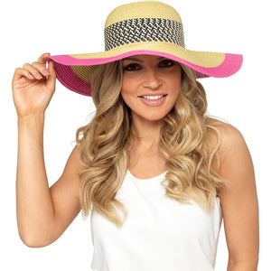 Ladies Floppy Summer Hat with Pink Trim