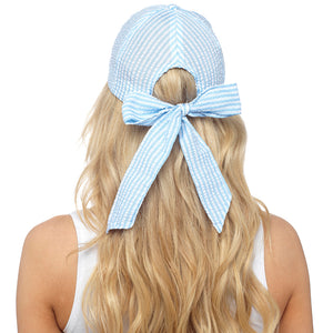 Ladies Striped Cap with Bow at Back