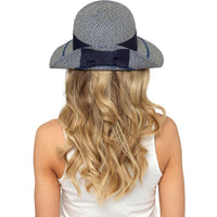 Ladies Sun Hat with Bow & Folded Brim for Summer