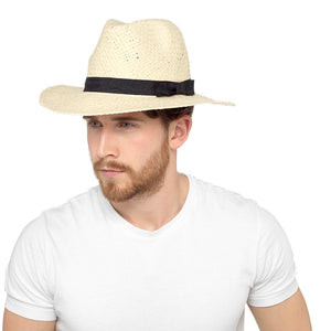 Adults Mens Straw Summer Hat with Band