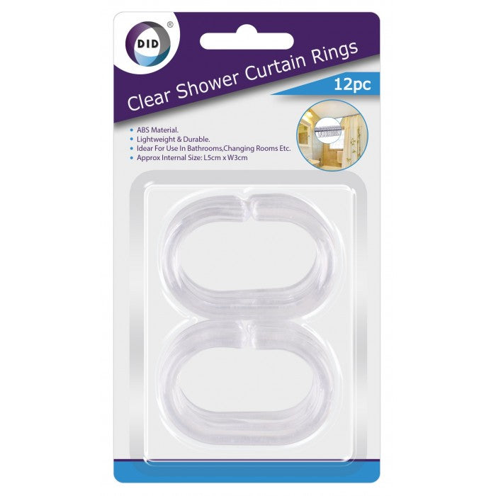 Buy wholesale 12pc clear shower curtain rings Supplier UK