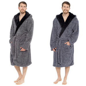 Mens Two Tone Supersoft Fleece Hooded Robe