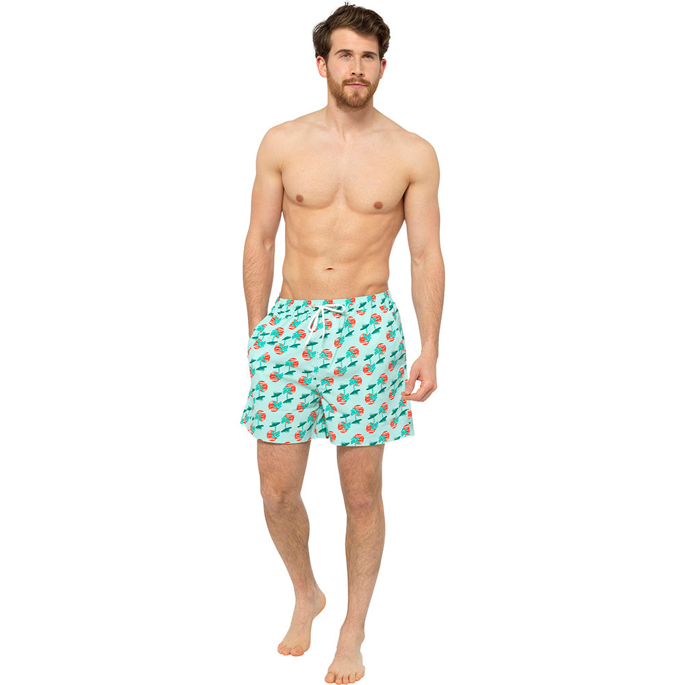 Mens Palm Printed Swim Shorts