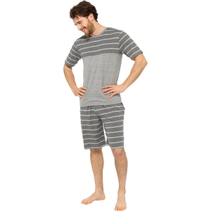 Mens Striped Panel V Neck Top & Shorts Pyjama