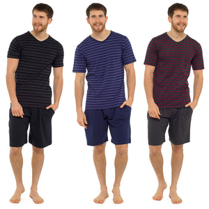Mens Striped Jersey T-Shirt and Shorts Set