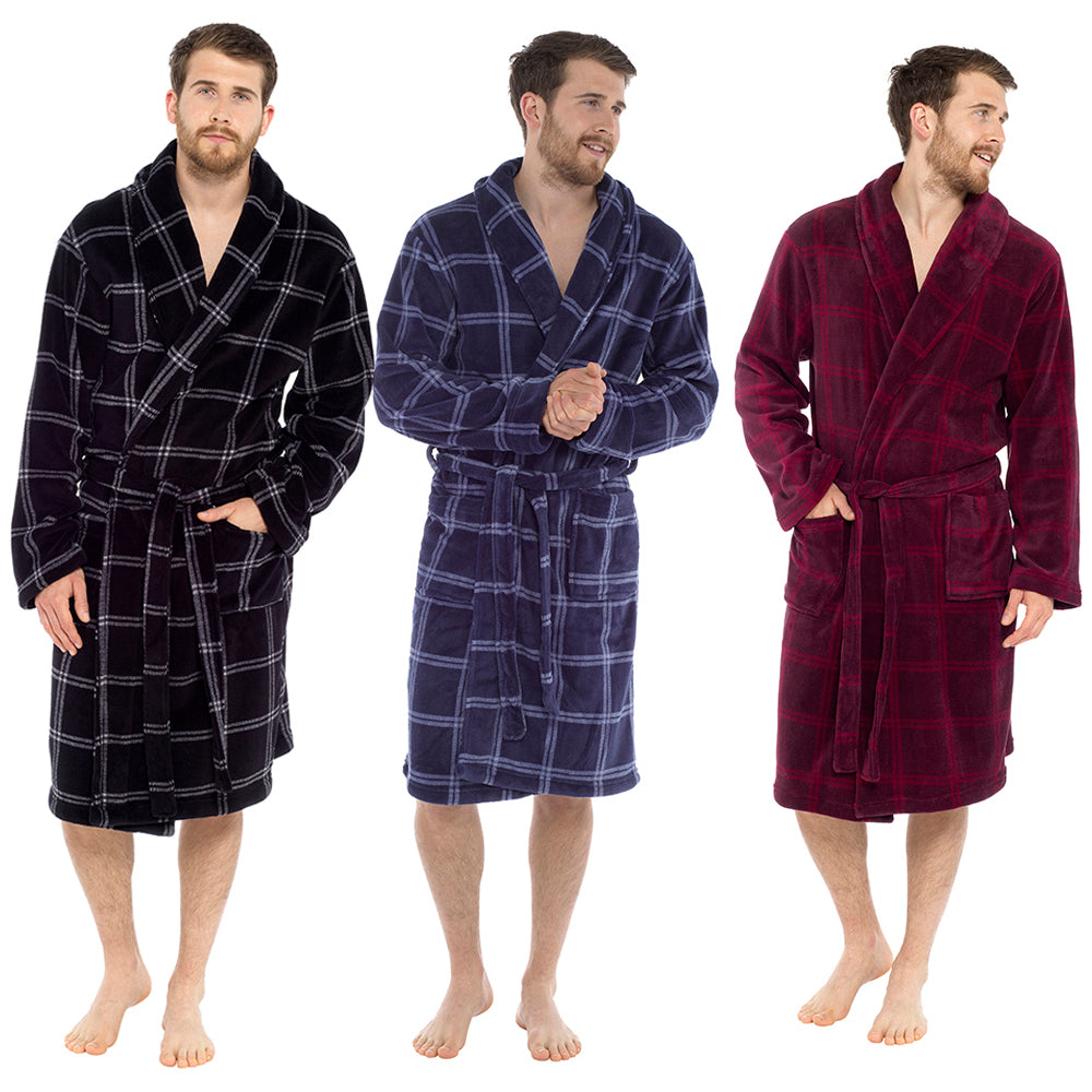 Mens Check Print Supersoft Robe