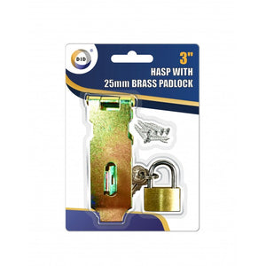 "Buy wholesale 3"" hasp with 25mm brass padlock Supplier UK"