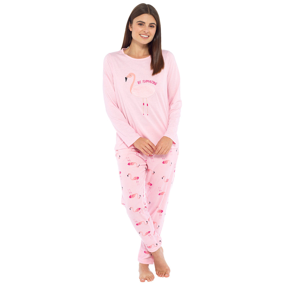 Ladies Jersey Top and Fleece Bottoms Pyjama Set