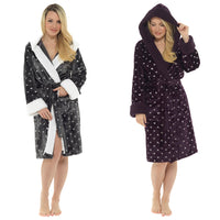 Ladies Foil Printed Hearts Hooded Gown with Sherpa Lined Hood and Cuffs