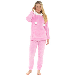 Ladies Soft Touch Fleece Pom Pom Twosie with Front Pocket