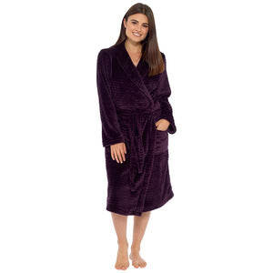 Ladies Stripe Embossed Fleece Gown
