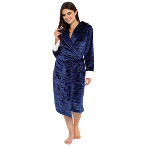 Ladies Marl Effect Fleece Robe with Sherpa Cuff Detail