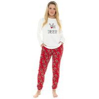 Ladies Oh Deer Embroidery Fleece Pyjama Set