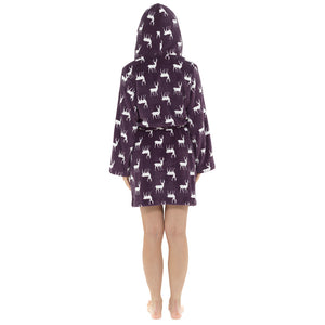 Ladies Stag Print Gown with Sherpa Lined Hood
