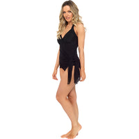 Ladies Halter Neck Swim Dress with Net Skirt Overlay