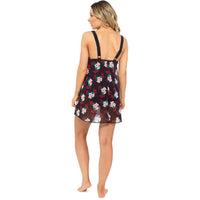 Ladies Printed Swim Dress with Mesh Overlay