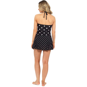 Ladies Spot Print Bandeau Halter Neck Swim Dress